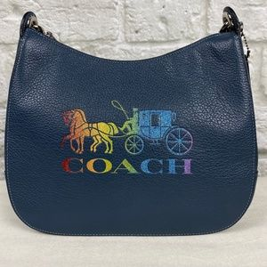 NWT Coach Rainbow Glitter Jes Leather Hobo